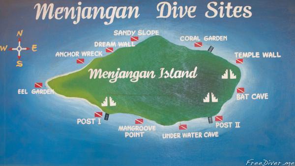 Карта дайв-сайтов о.Менджанган