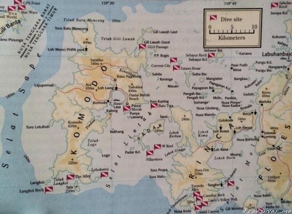 Карта дайв-сайтов национального парка Комодо