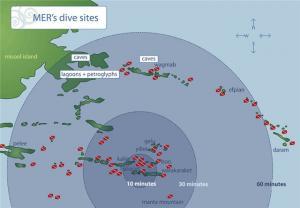 Карта дайв-сайтов вокруг острова Мисул